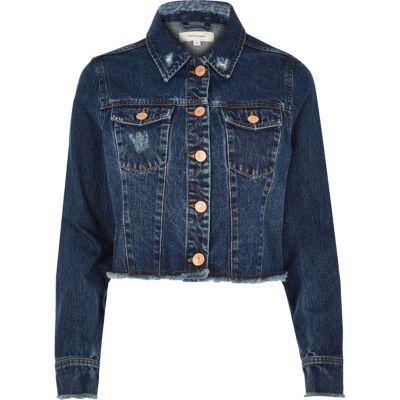 Dark blue wash frayed hem denim jacket   coats / jackets   sale ...
