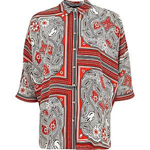 Red print twist back shirt