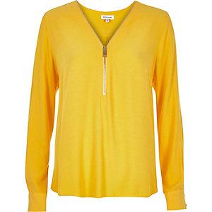 Yellow zip neck blouse