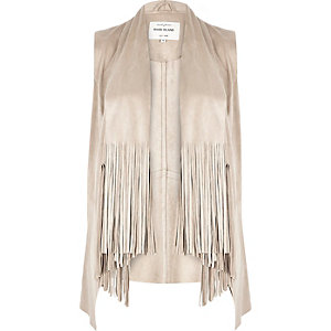 Beige faux suede fringed jacket