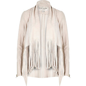 Cream faux suede fringed jacket