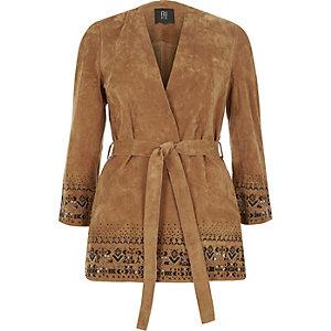 Light brown suede kimono