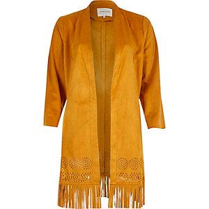 Tan faux suede fringe kimono