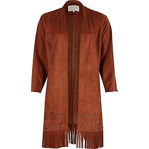 Rust faux suede fringe kimono