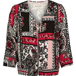 Red printed zip-up bomber jacket