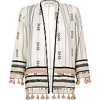 Weißer, bedruckter Festival-Kimono