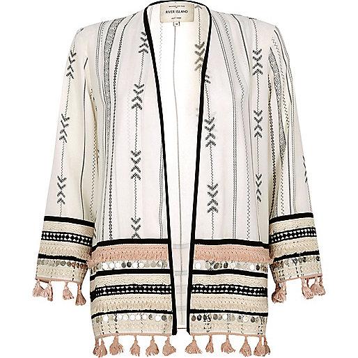 White print festival kimono