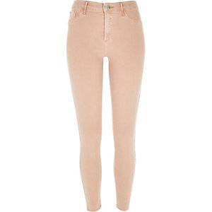 Light orange raw hem Molly jeggings