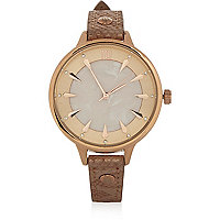 Light brown embellished watch