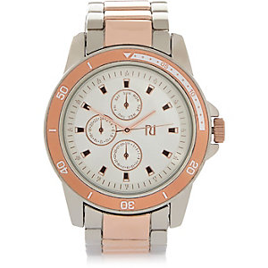 Rose gold three dial watch