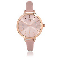 Gold tone light pink strap watch
