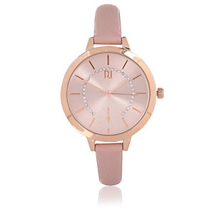Light pink skinny strap watch