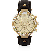 Black gold tone gem encrusted watch