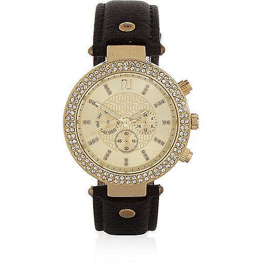 Black gold tone gem encrusted watch