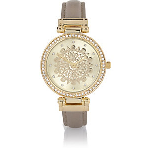 Light grey embellished filigree watch