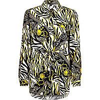 Black zebra print belted shirt
