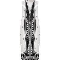 White print longline vest