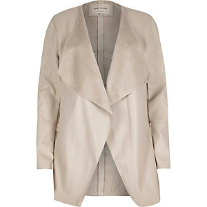 Cream leather-look draped jacket
