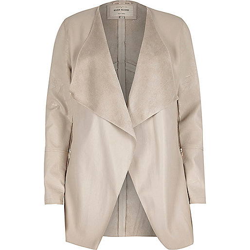 Cream leather look draped jacket
