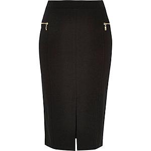 Black jersey split front pencil skirt