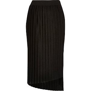 Black pleated asymmetric midi skirt
