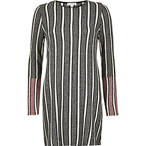 Black stripe knitted tunic top