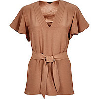 Brown frilly sleeve top