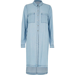 Light blue wash longline denim shirt