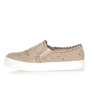 Light beige studded plimsolls