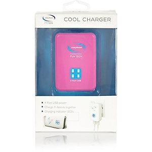 Pink 4 port USB charger