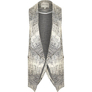Navy print sleeveless open back jacket