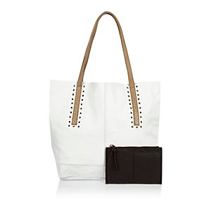 White leather eyelet tote handbag