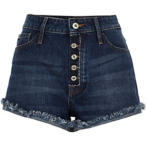 Mid wash blue distressed Ruby denim shorts