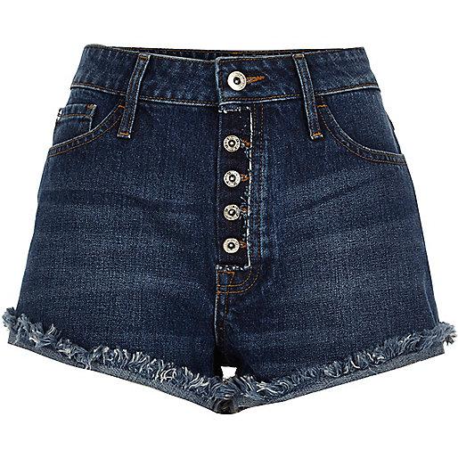 Mid wash blue distressed Ruby denim shorts