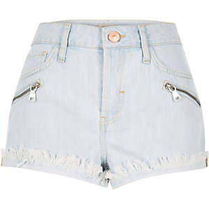 Light blue wash raw Ruby denim shorts