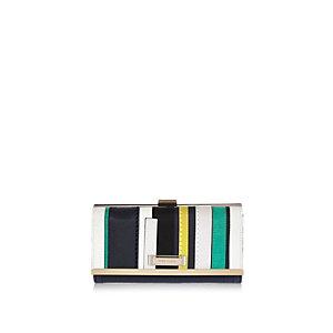 Navy stripe clip top purse