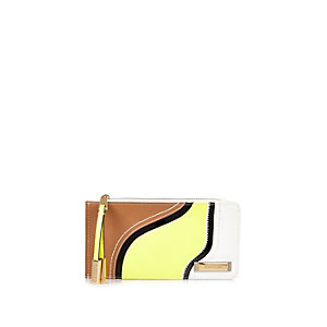 Beige curved panel purse