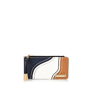 Navy curved panel purse