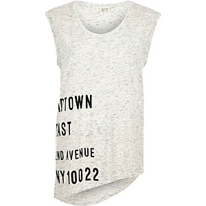 White New York print top
