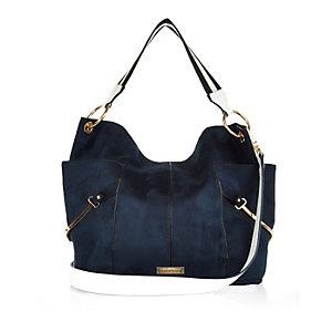 Navy slouchy two tone handbag