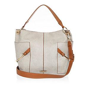 Grey slouchy two tone handbag