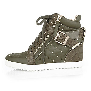 Khaki wedge high top sneakers