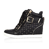 Black studded high top sneakers