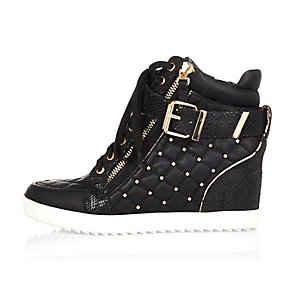 Black studded wedge high top sneakers