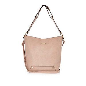 Pink slouchy bucket handbag