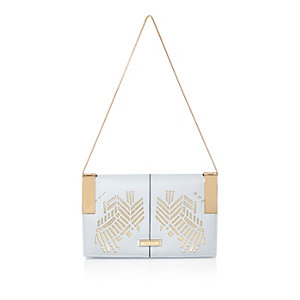 Light blue laser-cut underarm bag