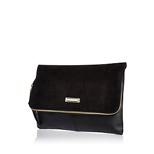 Black large zip clutch handbag