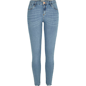 Light wash Amelie raw hem superskinny jeans