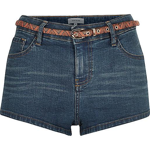 Mid wash denim belted hotpant shorts