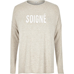 Beige soigne print swing top